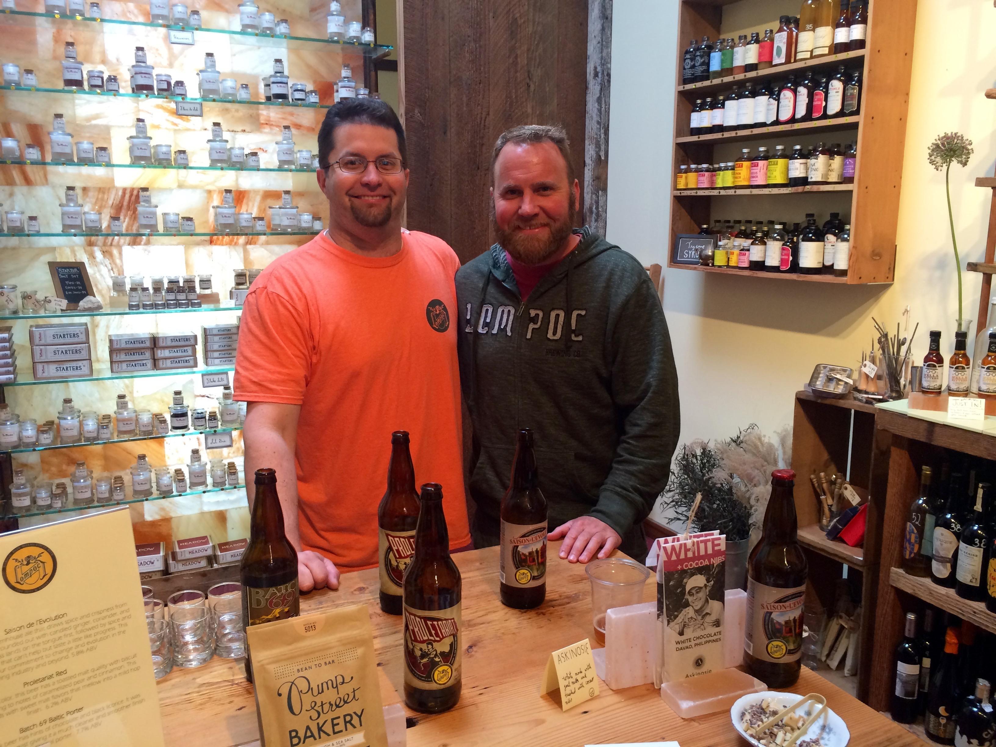 Bryan Keilty and Matt Kohnke of Lompoc Sampling Beer & Chocolate