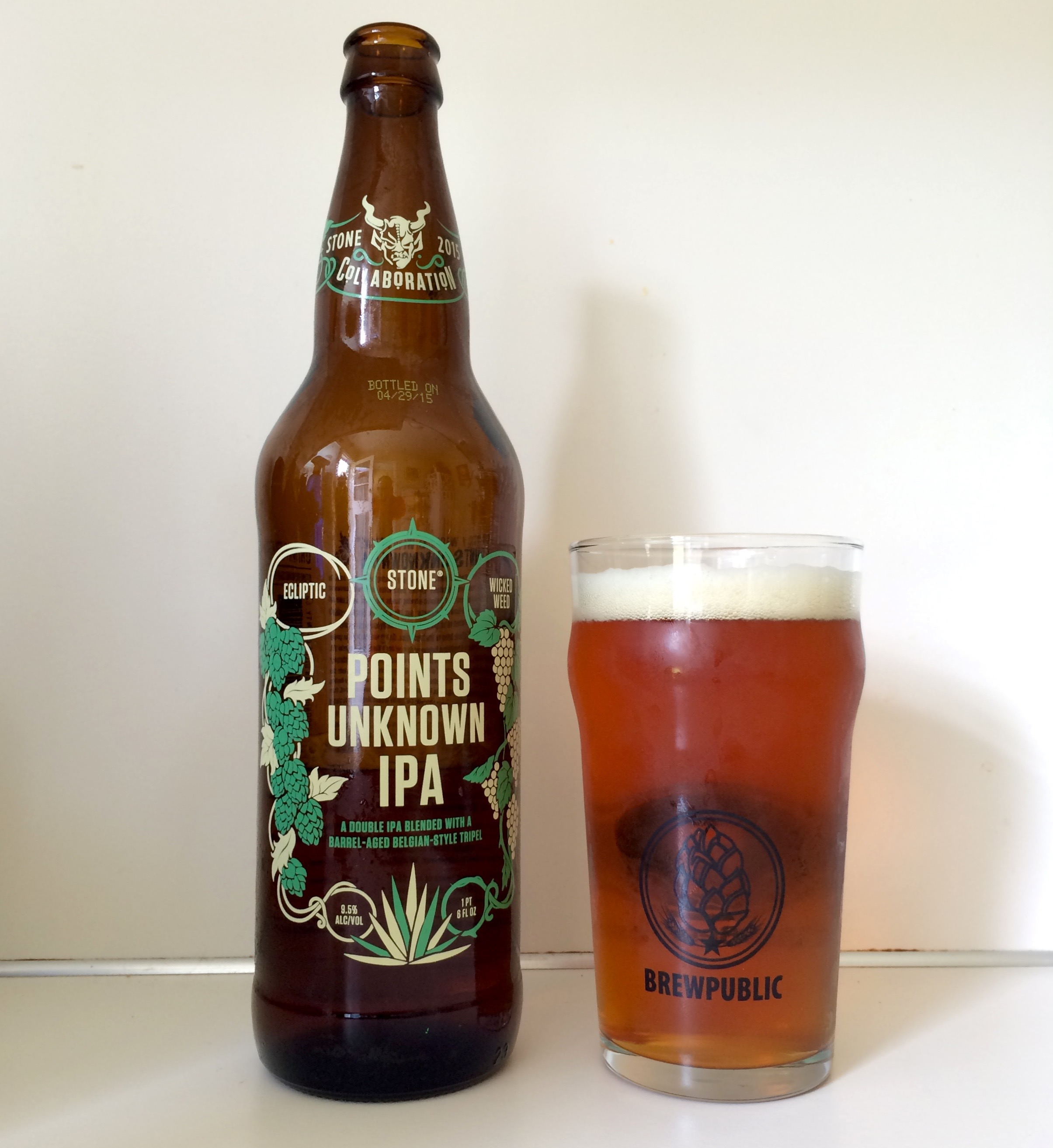 Ecliptic Brewing, Wicked Weed Brewing and Stone Brewing Points Unknown IPA Bottle Pour