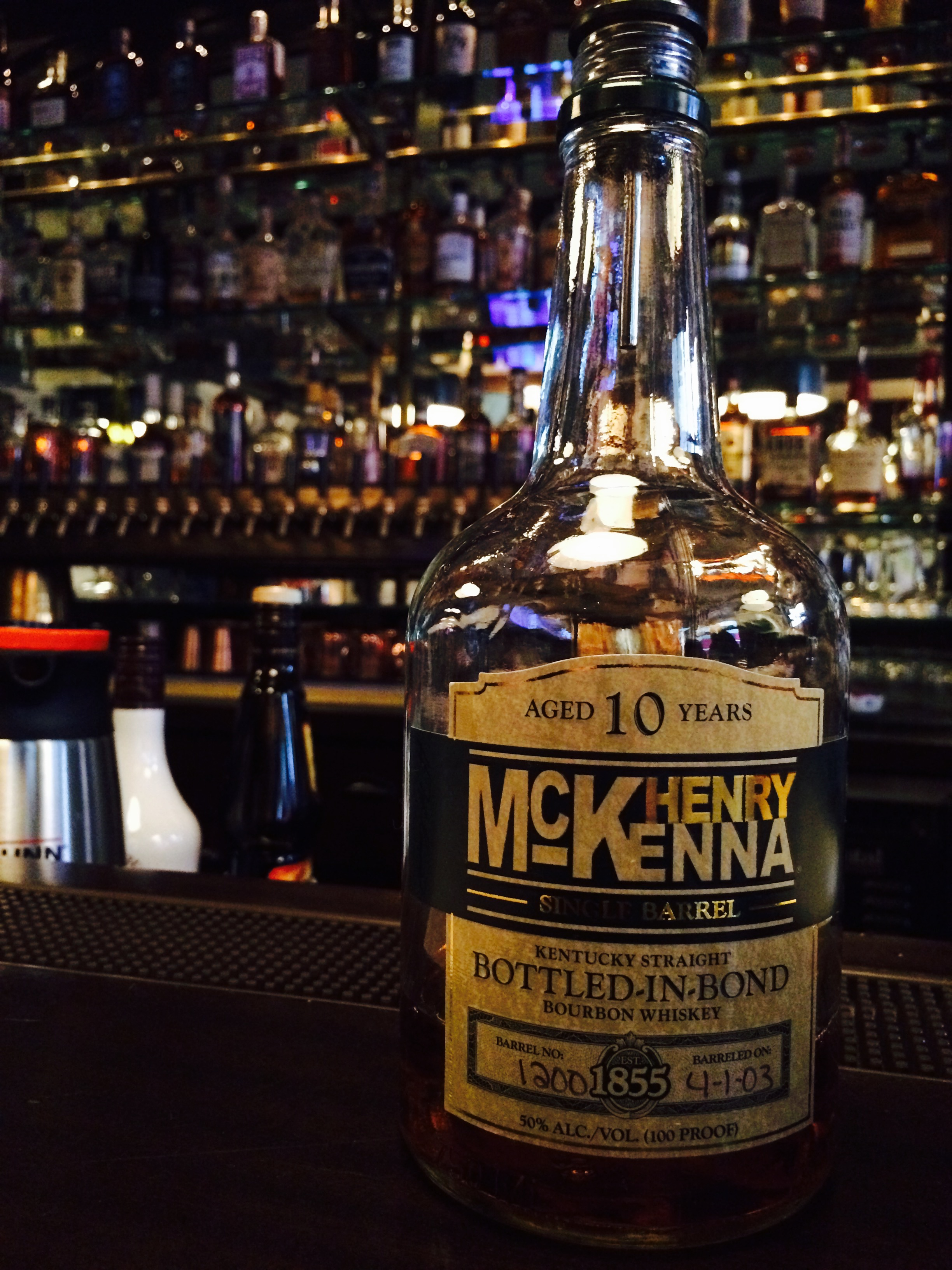 Henry McKenna Single Barrel Bourbon Whiskey Bottle at Produce Row Cafe