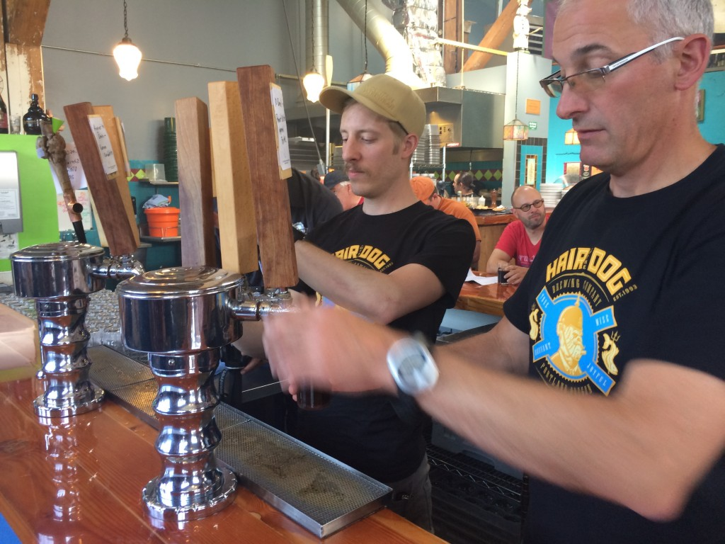 Pouring the beers at FredFest at Hair of the Dog