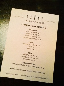 Produce Row Happy Hour Drink Menu