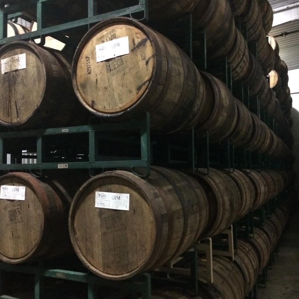 Barrels aging inside Firestone Walker climate control barrel room