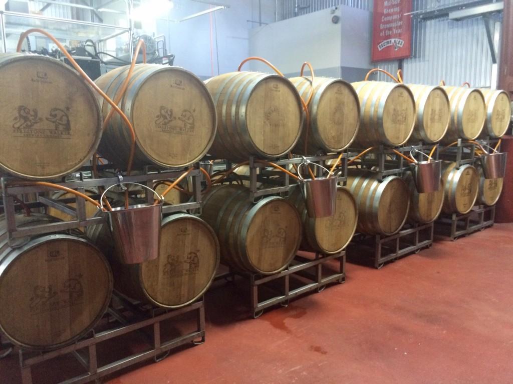 Barrels used for brewing Firestone Walker Double Barrel Ale (DBA)