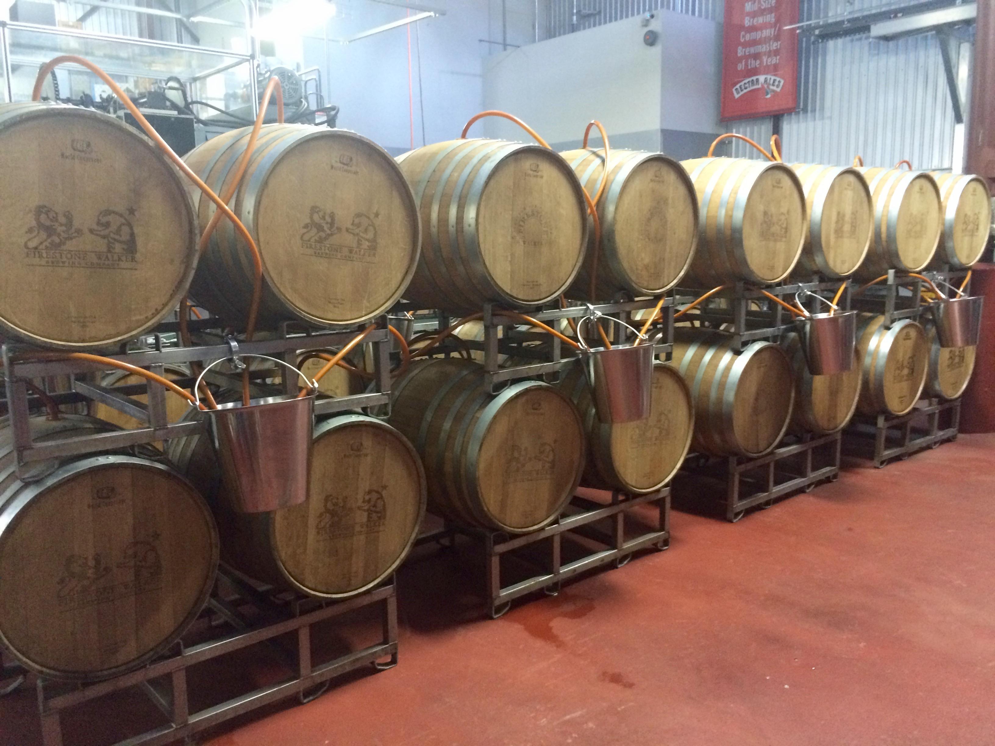 Barrels used for brewing Firestone Walker Double Barrel Ale (DBA).