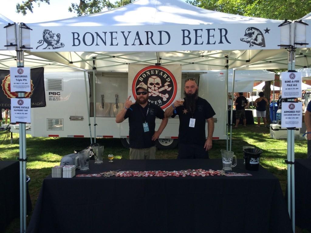 Ian Greene and Mark Henion holding down the Boneyard Taps at the 2015 Firestone Walker Invitational Beer Festival.