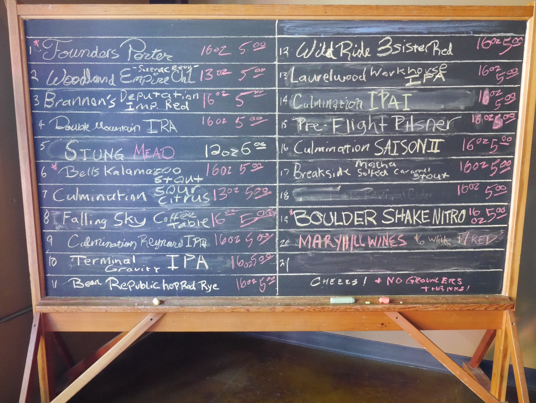 Culmination Brewing Beer Menu Board 6-9-15