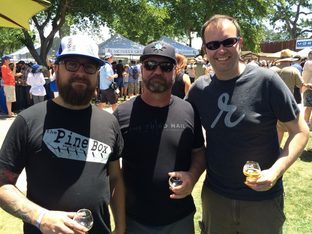 Ian Roberts & Dean Hudgins from Seattle's Pine Box and Adam Robbings of Reubens Brews at 2015 Firestone Walker Invitational Beer Fest