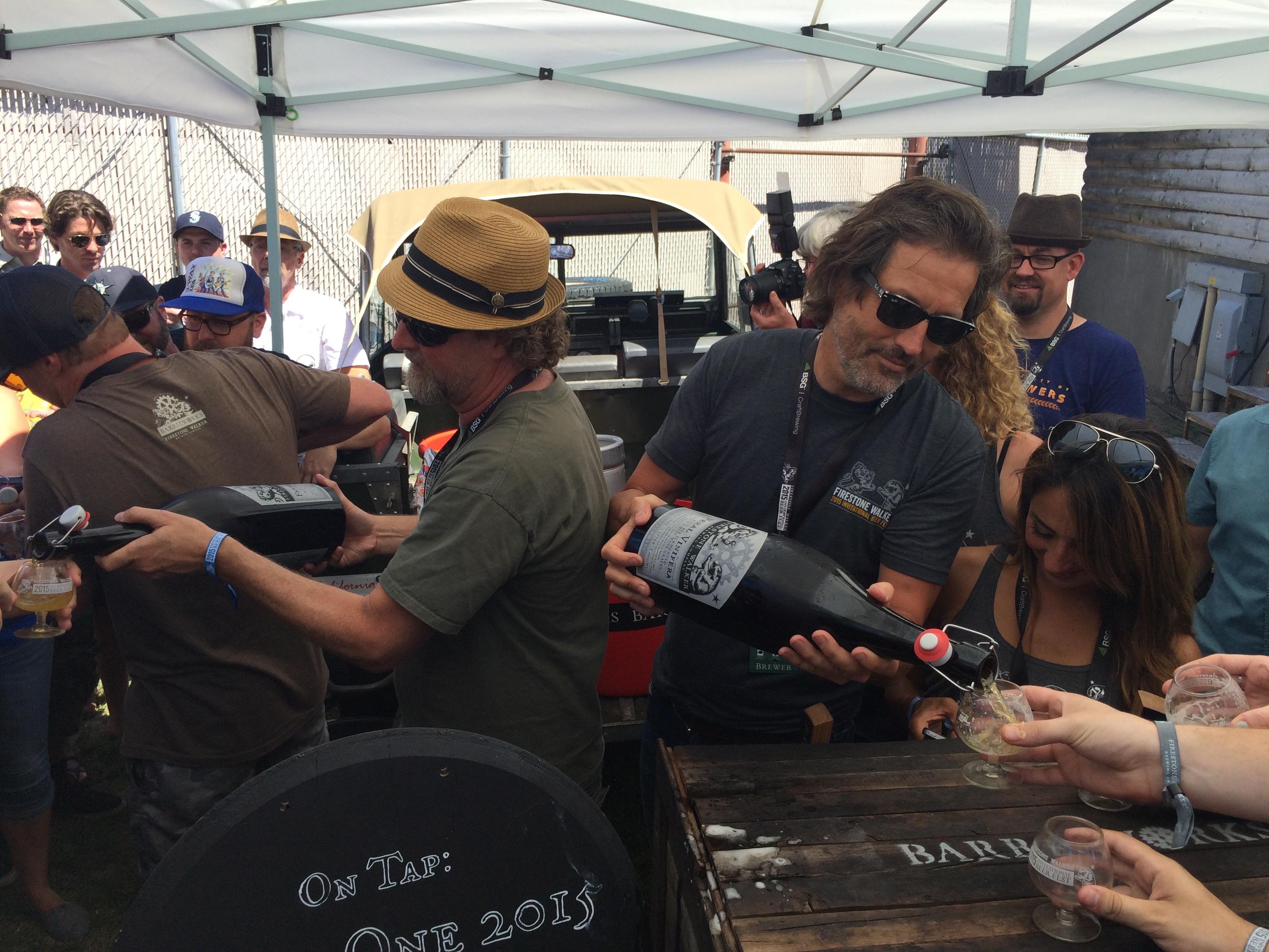 Jeffers Richardson and David Walker pouring Feral Vinifera at 2015 Firestone Walker Invitational Beer Fest