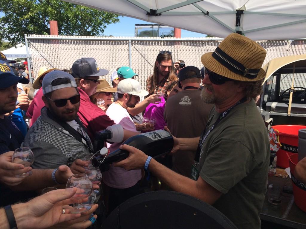 Jeffers Richardson pouring magnum's of Feral Vinifera at 2015 Firestone Walker Invitational Beer Fest