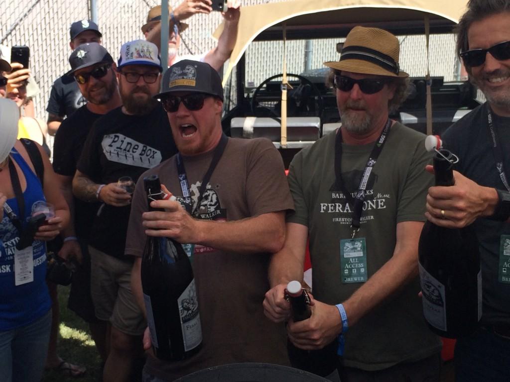 Jim Crooks, Jeffers Richardson and David Walker popping magnum's of Feral Vinifera at 2015 Firestone Walker Invitational Beer Fest
