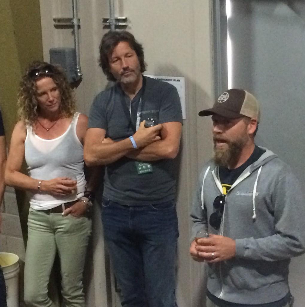 Matt Brynildson with Davide Walker and Polly Walker inside Firestone Walker Barrel Room