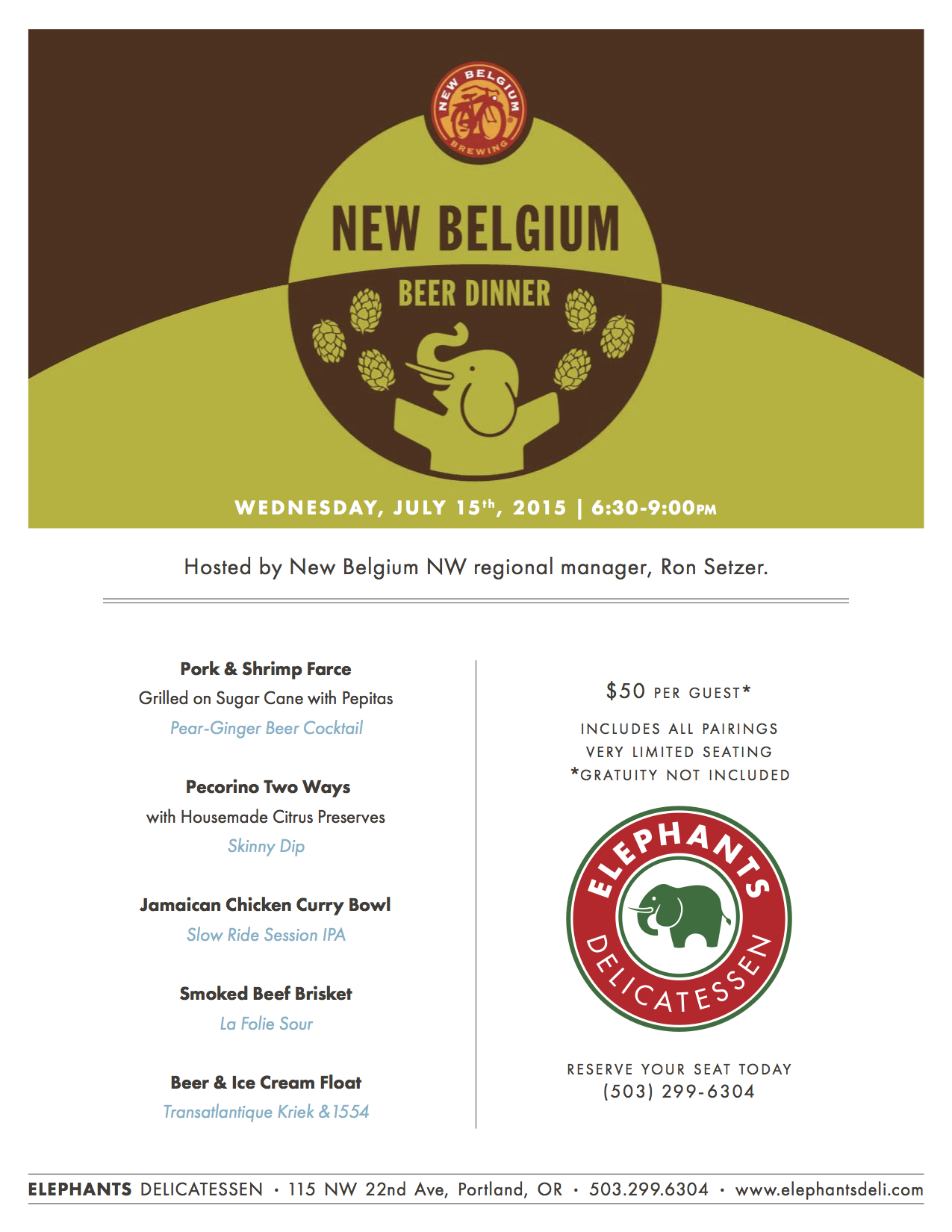 New Belgium Beer Dinner at Elephants Delicatessen