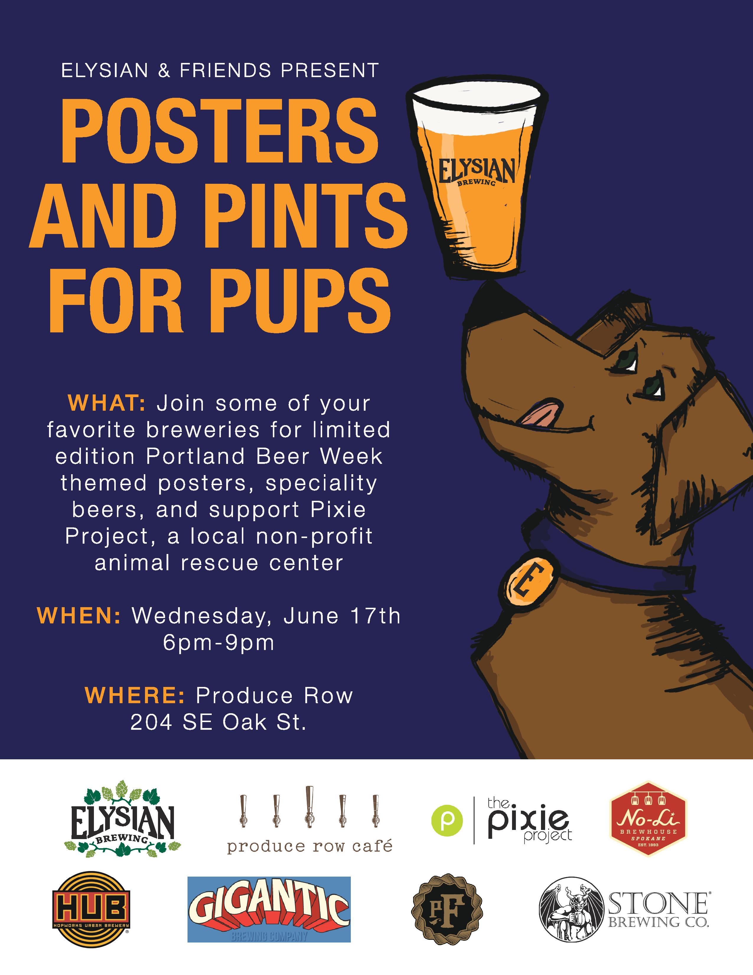 Posters and Pints for Pups at Produce Row