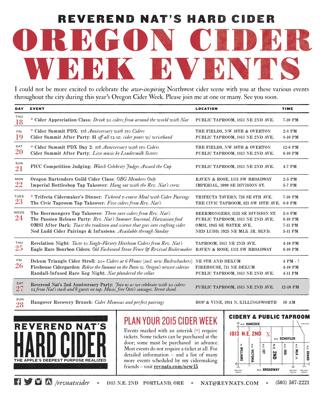 Reverend Nat's Oreogn Cider Week Events 2015