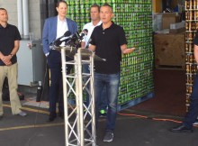 U.S. Senator Ron Wyden (center left) with Deschutes Brewery President Gary Fish and Rogue's Brett Joyce at a recent event at Hopworks announcing Wyden's Craft Beverage Modernization and Tax Reform Act, which he introduced in June 2015.