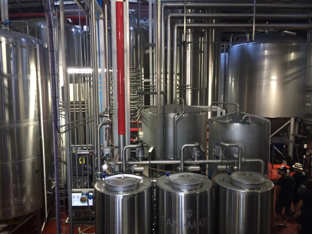 Tanks inside the Firestone Walker Brewery