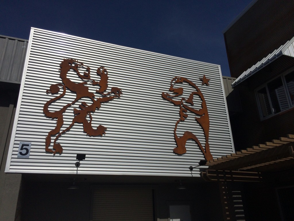 The Lion and The Beer on an Outside wall at Firestone Walker Brewery