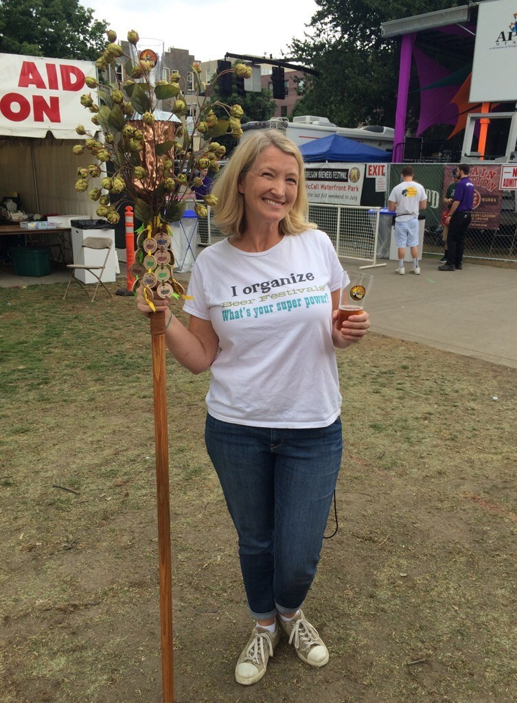 Beer festival queen Chris Crabb at 2015 Oregon Brewers Festival