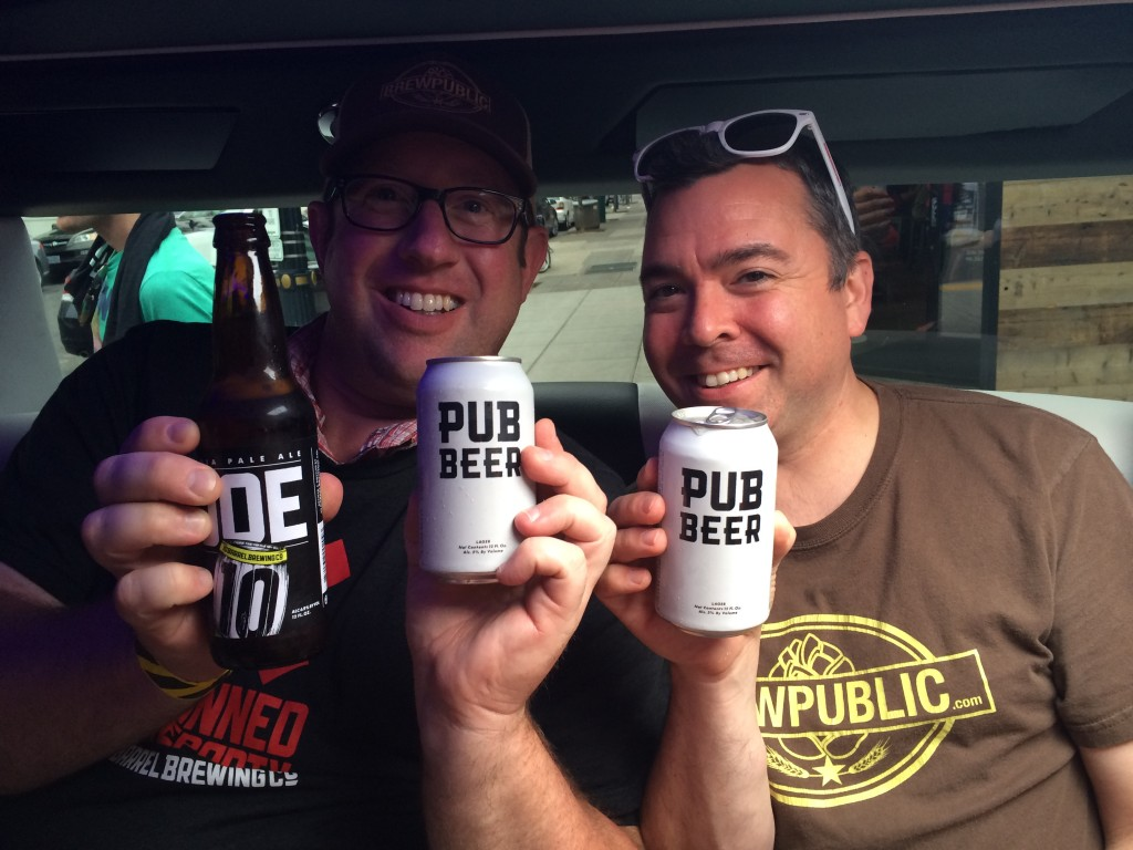 Brewpublic's D.J. Paul and Nick Rivers enjoying their 10 Barrel Limo Ride