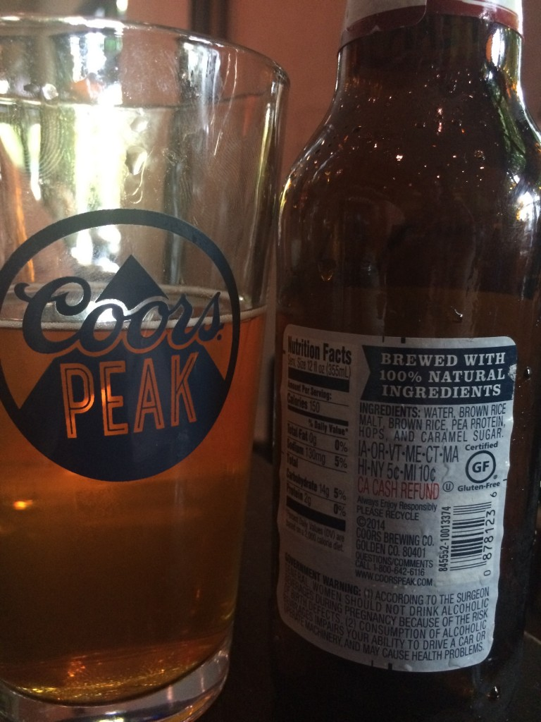 Coors Peak Ingredients Label
