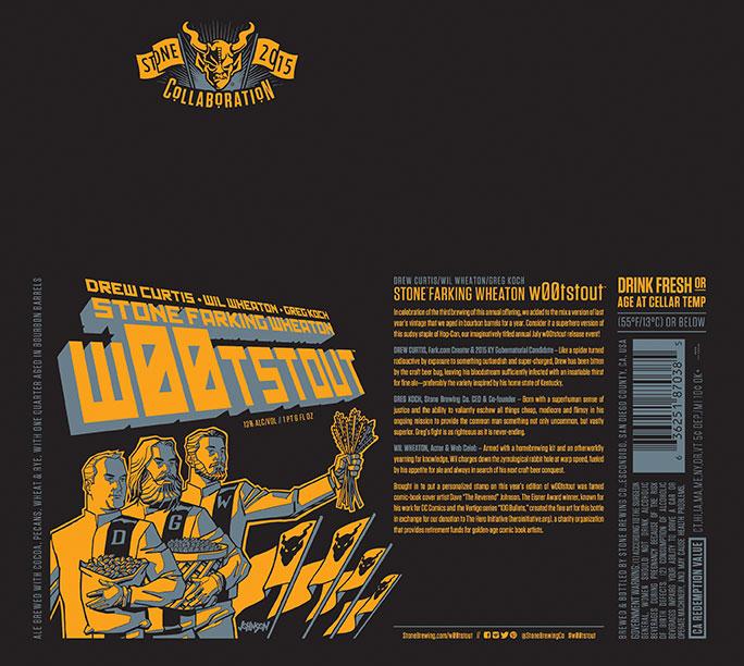 Drew Curtis:Wil Wheaton:Greg Koch Stone Farking Wheaton w00tstout Label