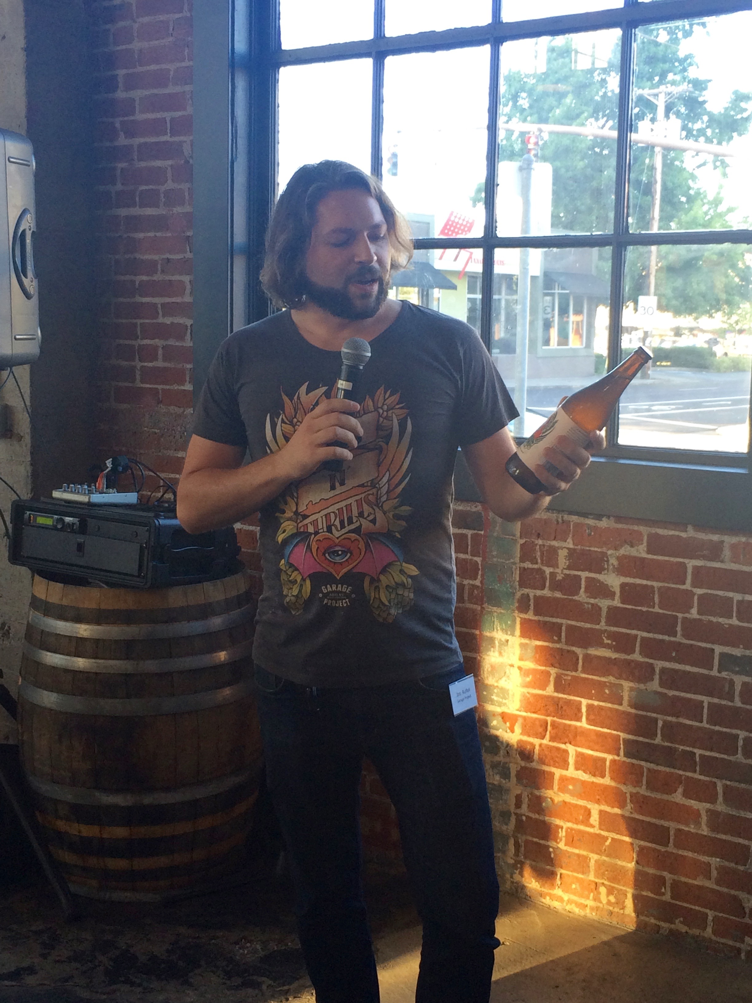Jos Ruffel of Garage Project speaking at the New Zealand Brewers Reception