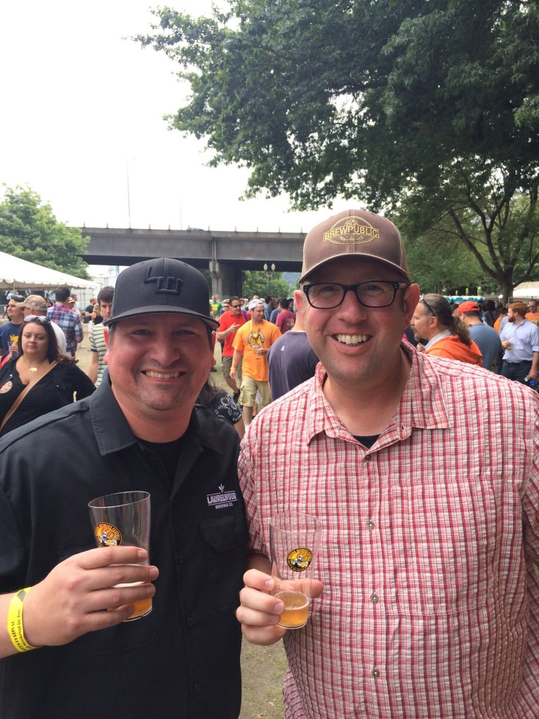 Laurwood Brewing's James Buxman and Brewpublic's D.J. Paul at 2015 Oregon Brewers Festival