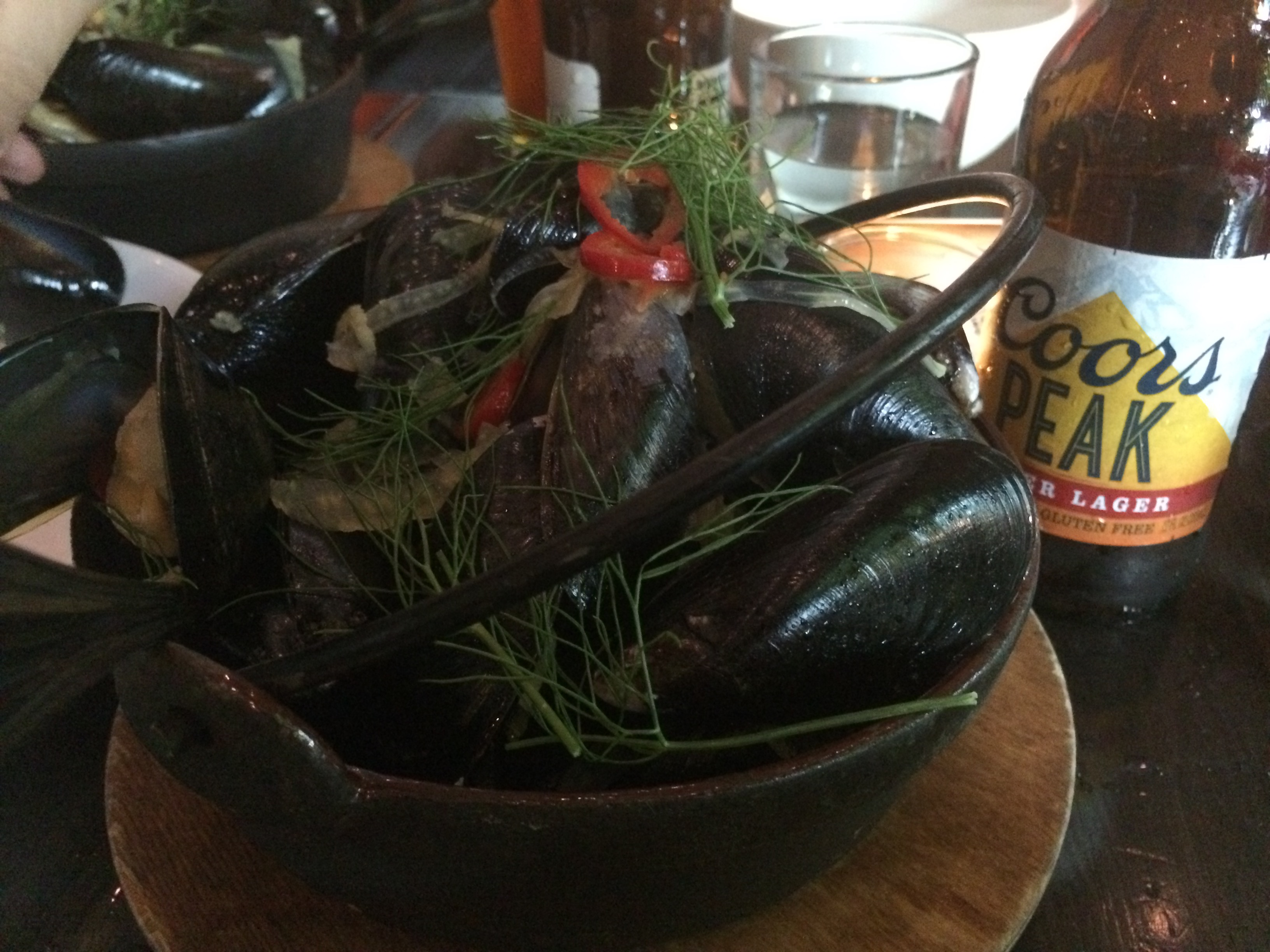 Mussels and Coors Peak at The Fireside