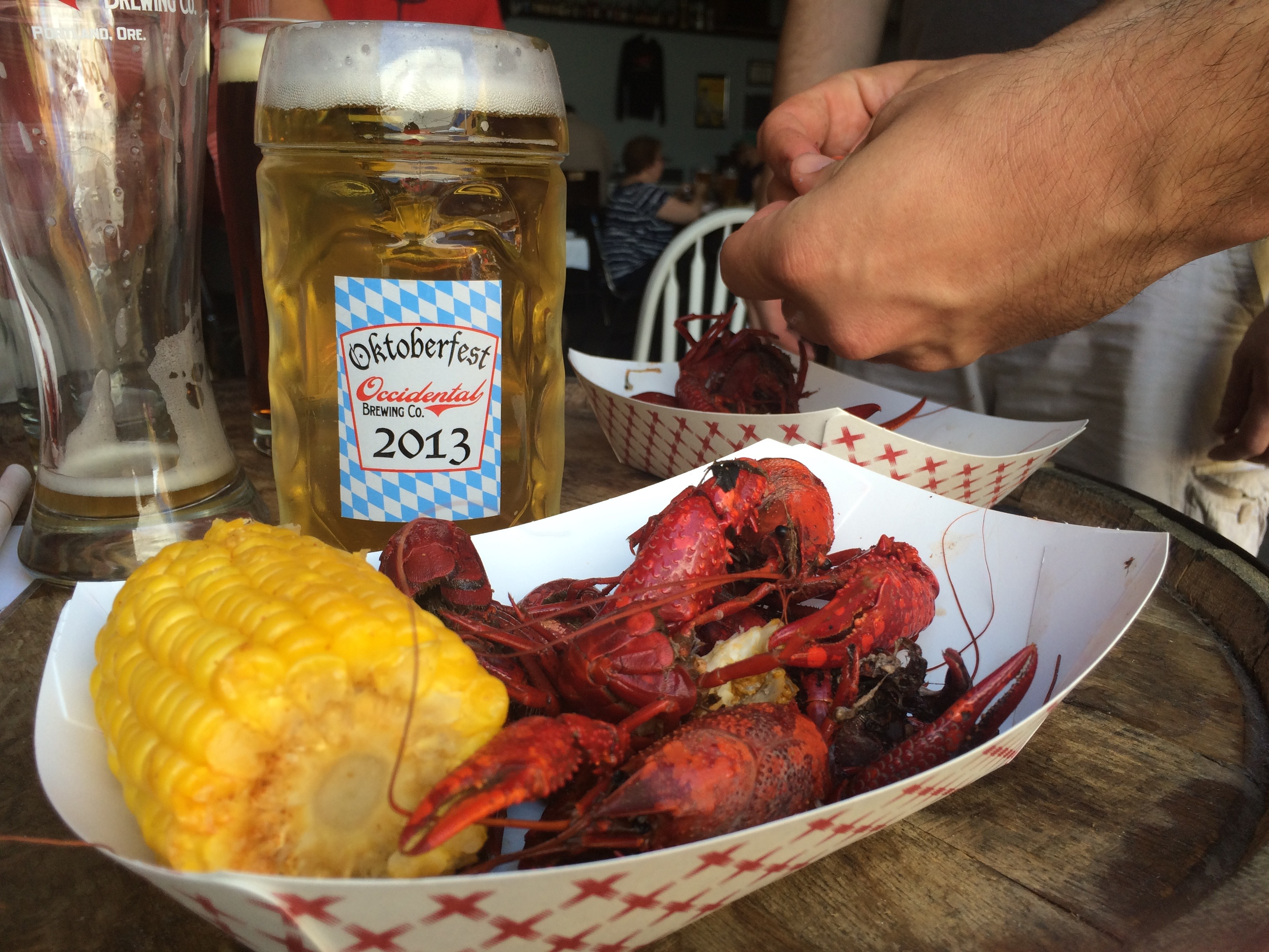 Occidental Brewing Crawfish Boil and a German-style Pilsner.
