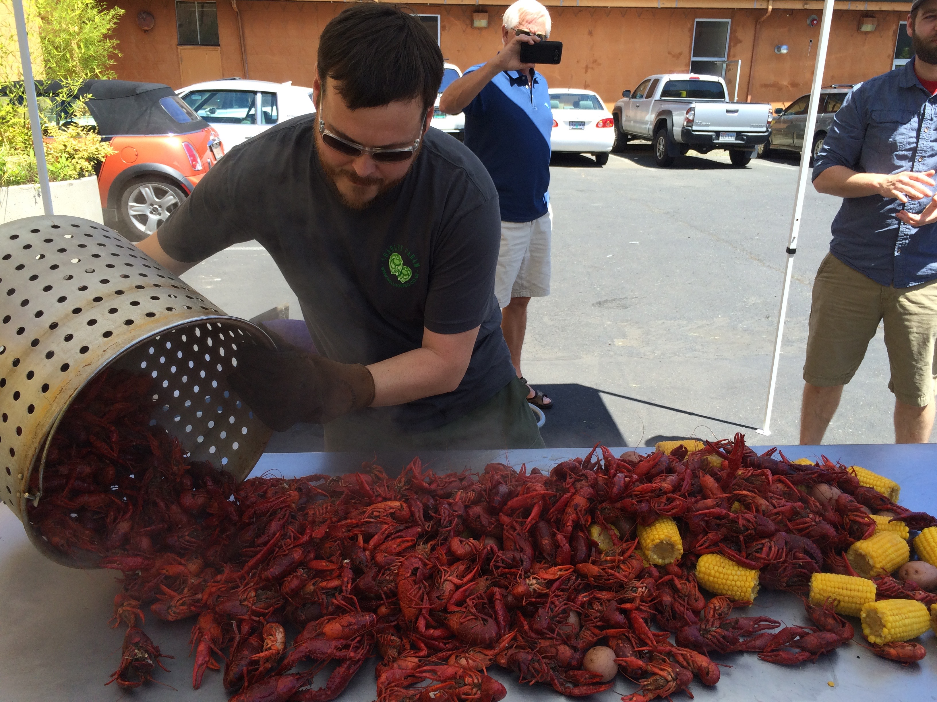 Dan Engler preparing the crawfish during the Occidental Brewing Crawfish Boil in 2015.