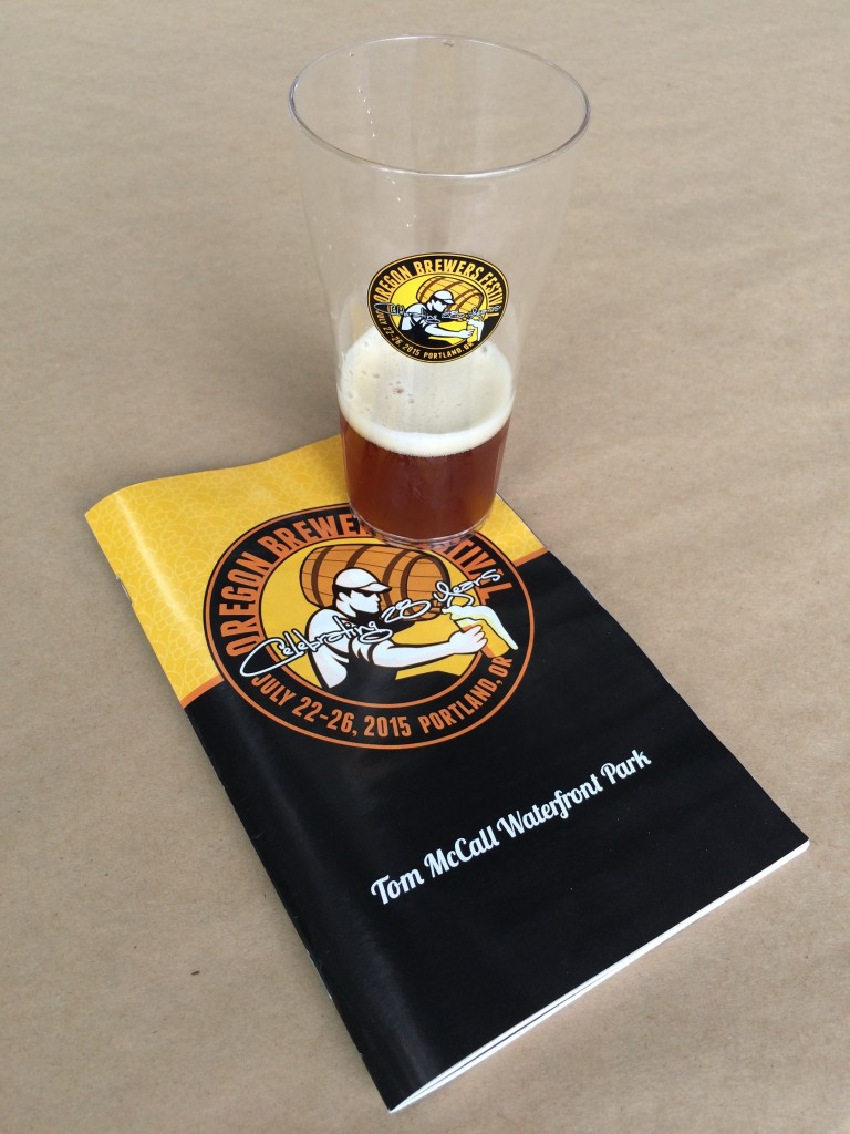 Program and beer at 2015 Oregon Brewers Festival