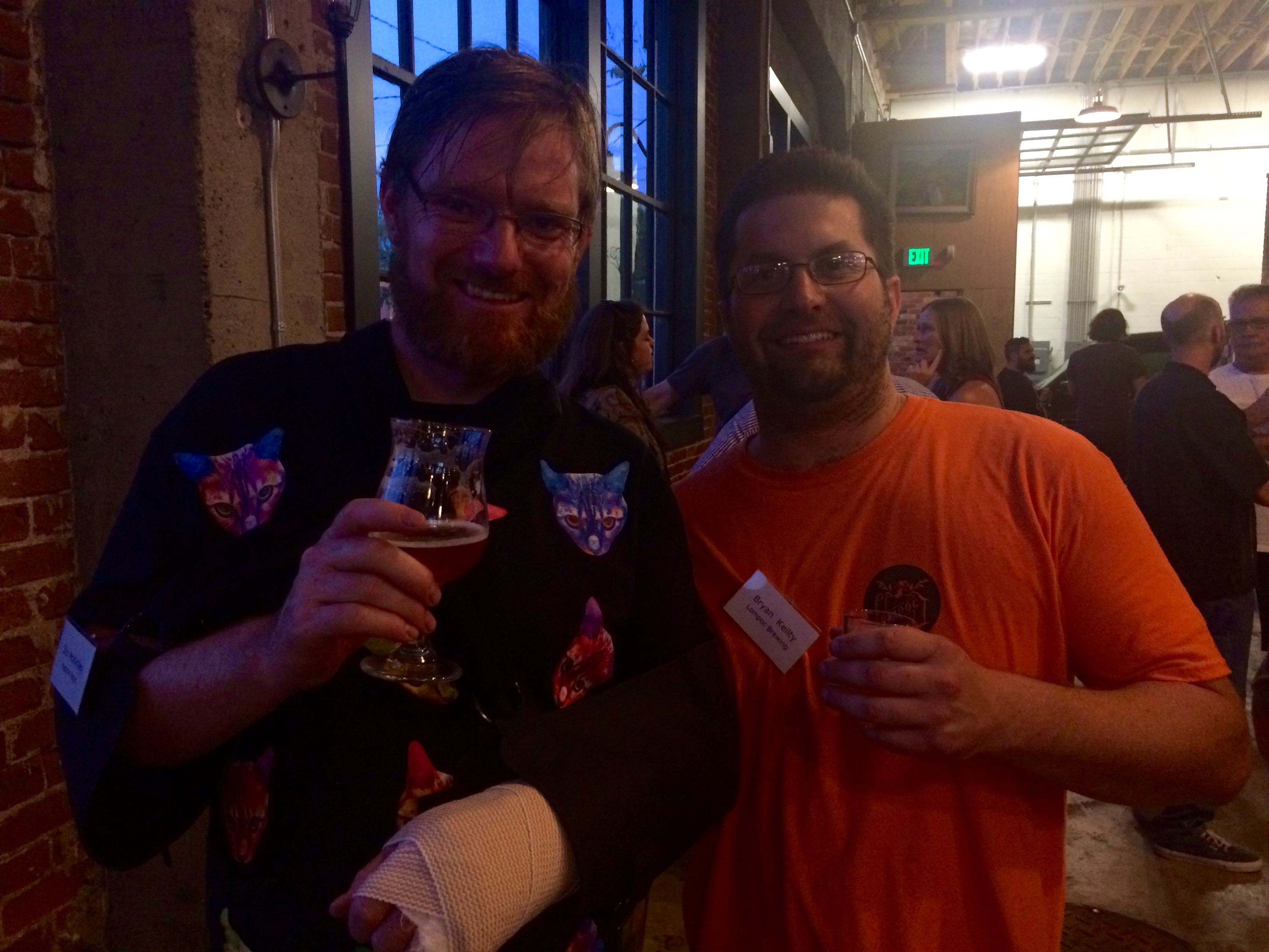Stu McKinlay of Yeastie Boys and Bryan Keilty of Lompoc at the New Zealand Brewers Reception