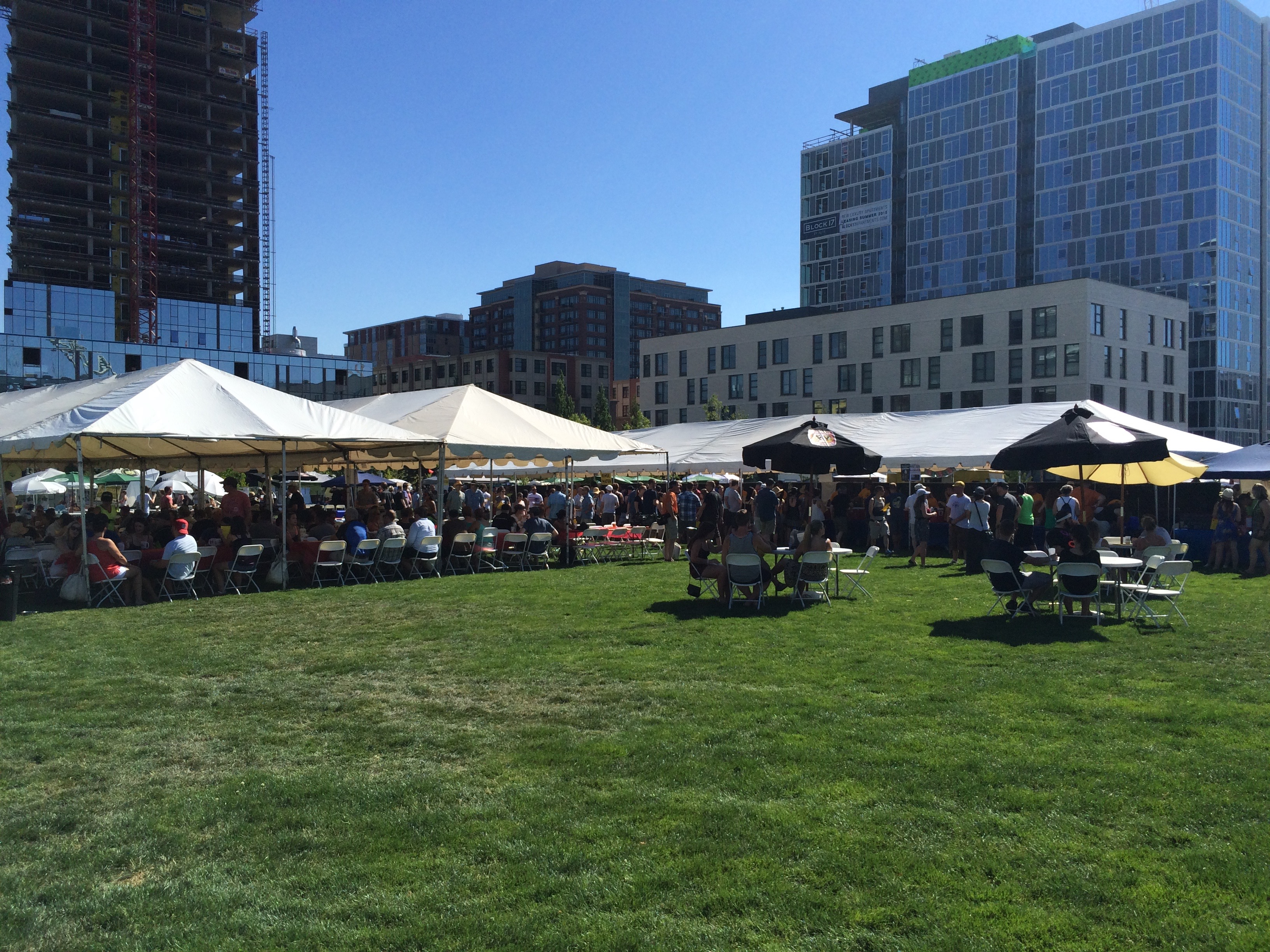 Tents to keep the heat at bay during the 2015 Portland Craft Beer Festival.