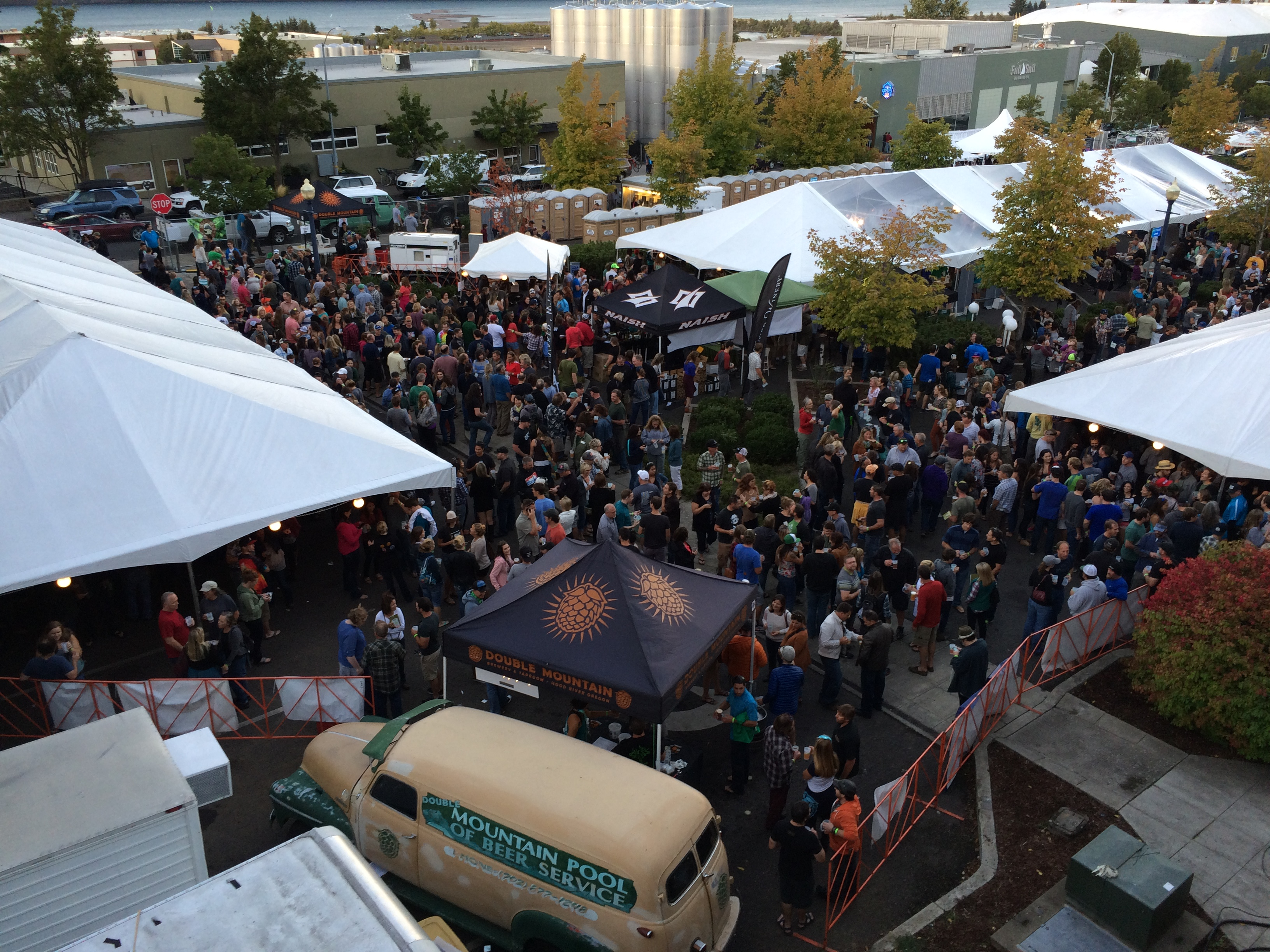 An aerial view of the Hood River Hops Fest