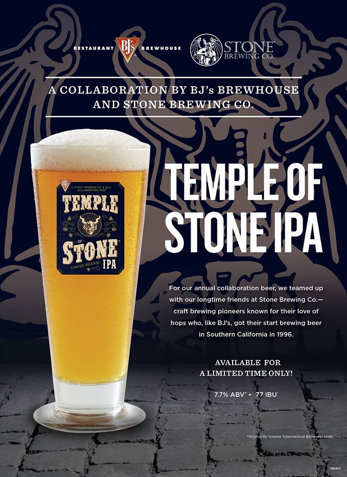 BJ's Brewhouse & Stone Brewing Temple Of Stone IPA
