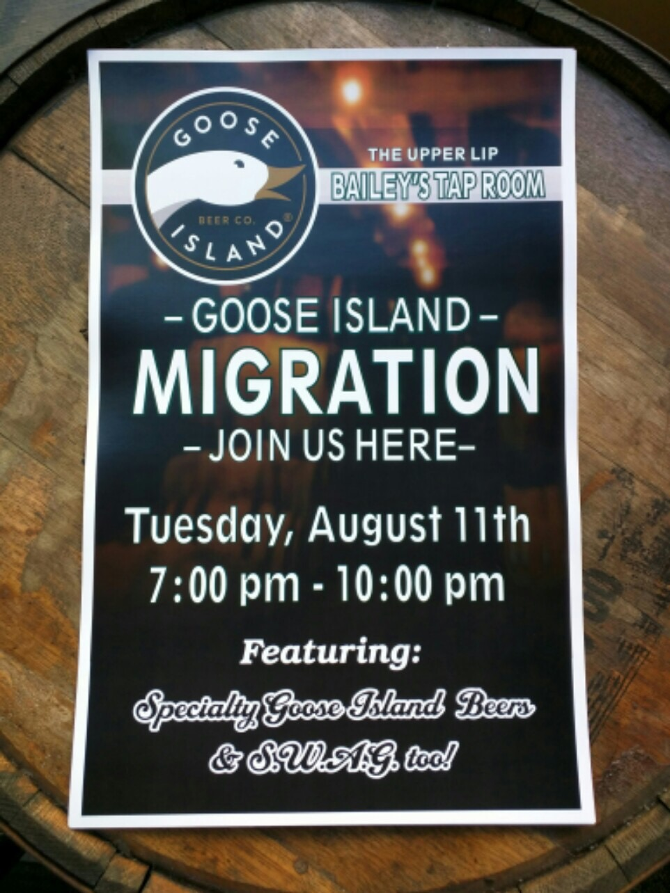 Goose Island Migration Week at Bailey's Taproom and The Upper Lip
