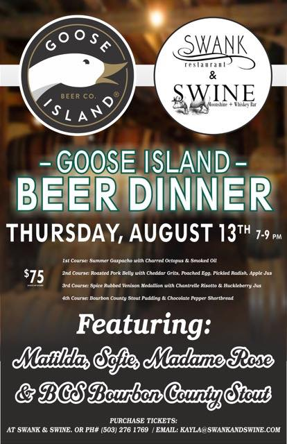 Goose Island Swank & Swine Beer Dinner