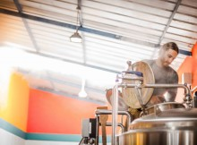 Joe Giammatteo brewing at Sacred Valley Brewing Company