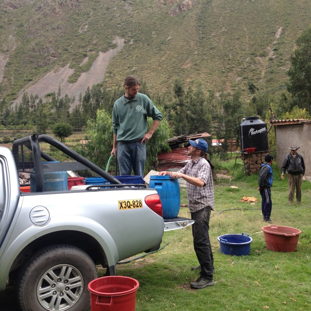 Obtaining water to brew on a ranch in Peru