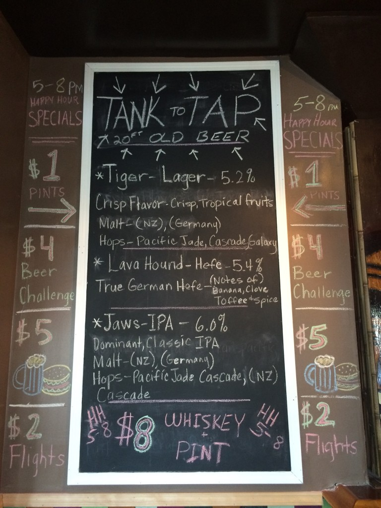 Taplist at Splash Brewing