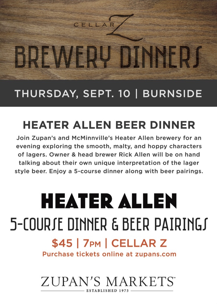 Zupan's Cellar Z Beer Dinner with Heater Allen
