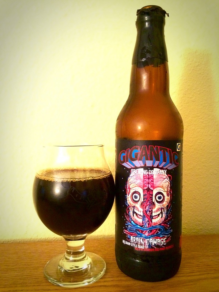 A glass pour of Gigantic Brewing Brain Damage