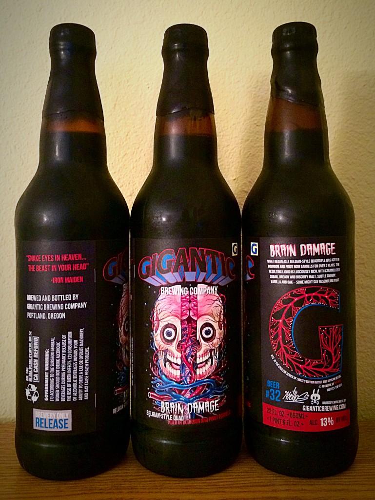 Bottles of Giganitc Brewing Brain Damage
