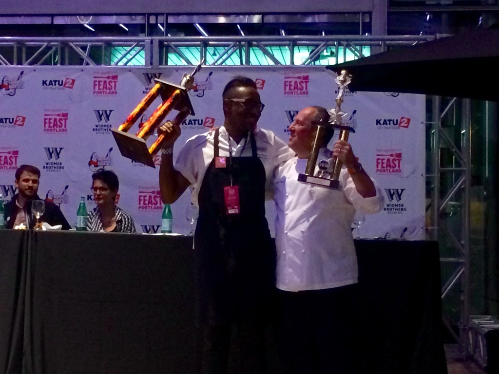 Champion Gregory Gourdet of Departure & People's Choice Vitaly Paley of Imperial at Feast Portland Sandwich Invitational