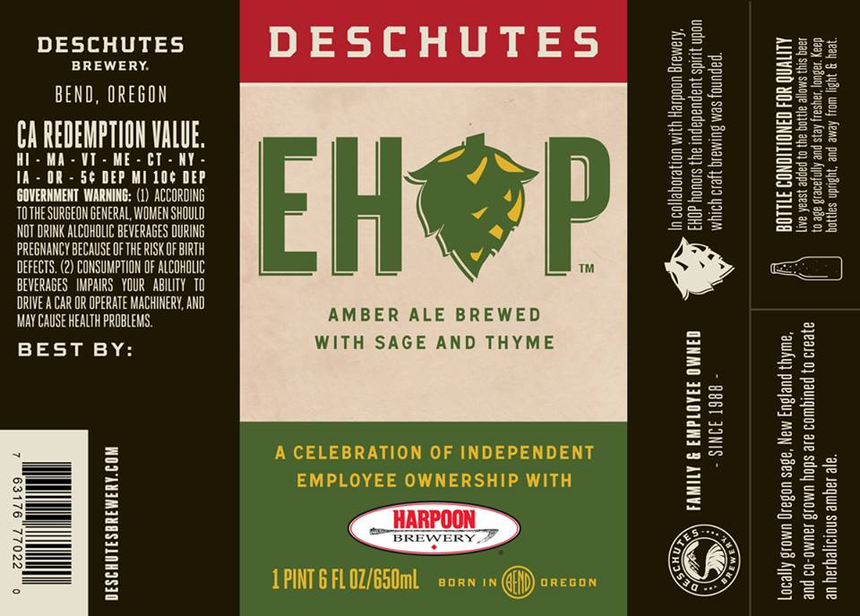 Deschutes and Harpoon EHOP Amber Ale