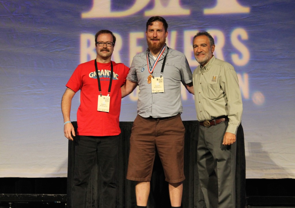Gigantic Brewing Scott Guckel and Ben Love receiving their Bronze Medal at 2015 GABF