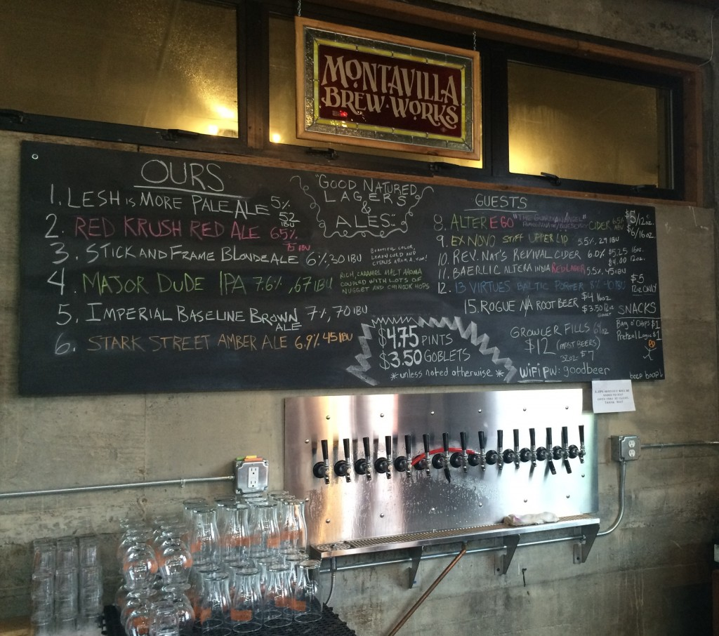 Tap Menu at Montavilla Brew Works