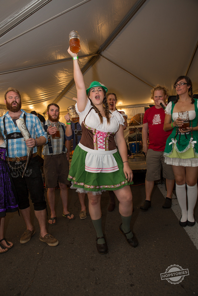 2015 Bloktoberfest Patrons in Dirndls and Lederhosen (photo courtesy of Hopstories)