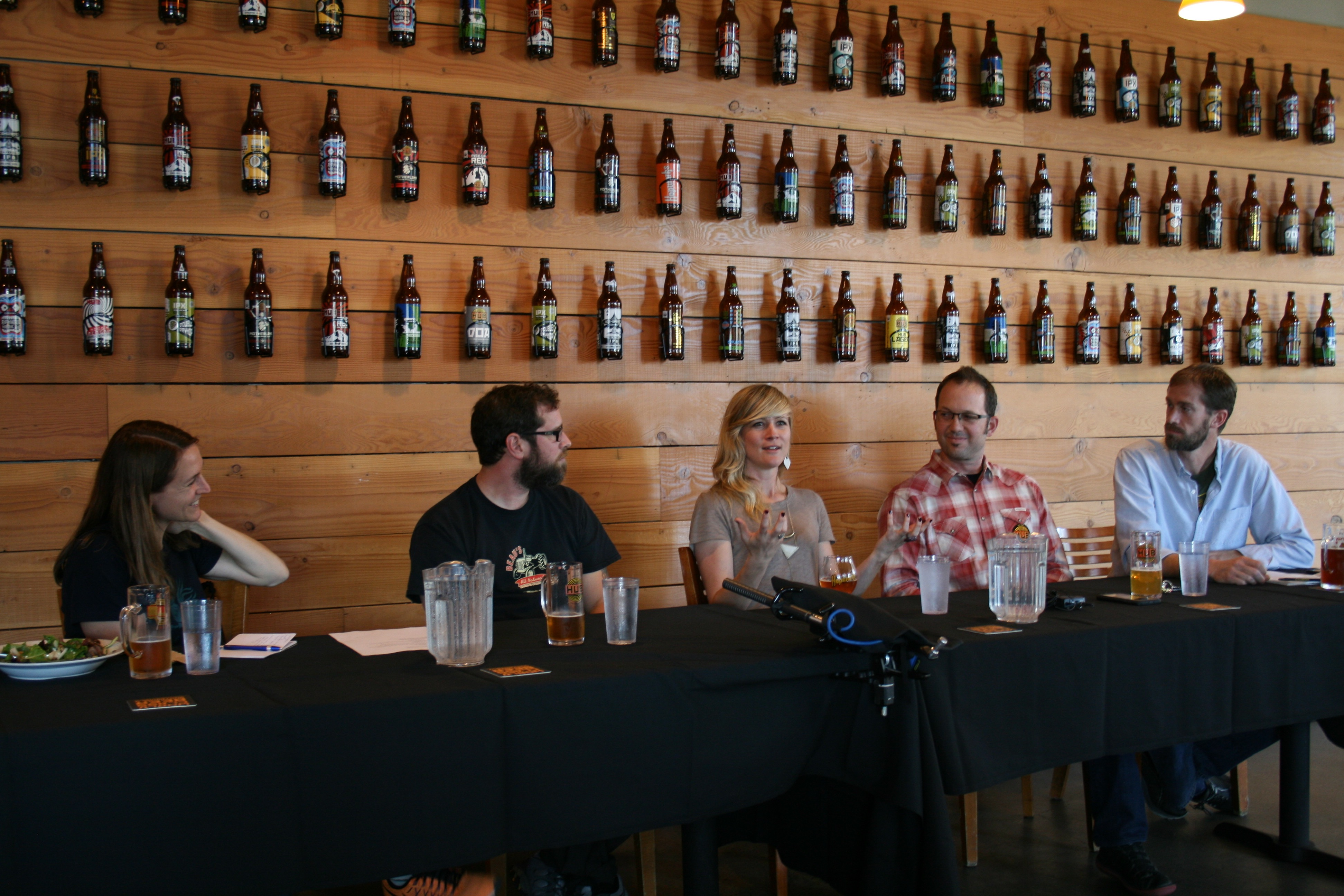 B Corp Brewery Panel at Hopworks Urban Brewery. From left, Kris Spaulding of Brewery Vivant, Steve Beauchesne of Beau's All Natural Brewing, Katie Wallace of New Belgium, and both Christian Ettinger and Nate Young of Hopworks Urban Brewery. (photo by D.J. Paul)