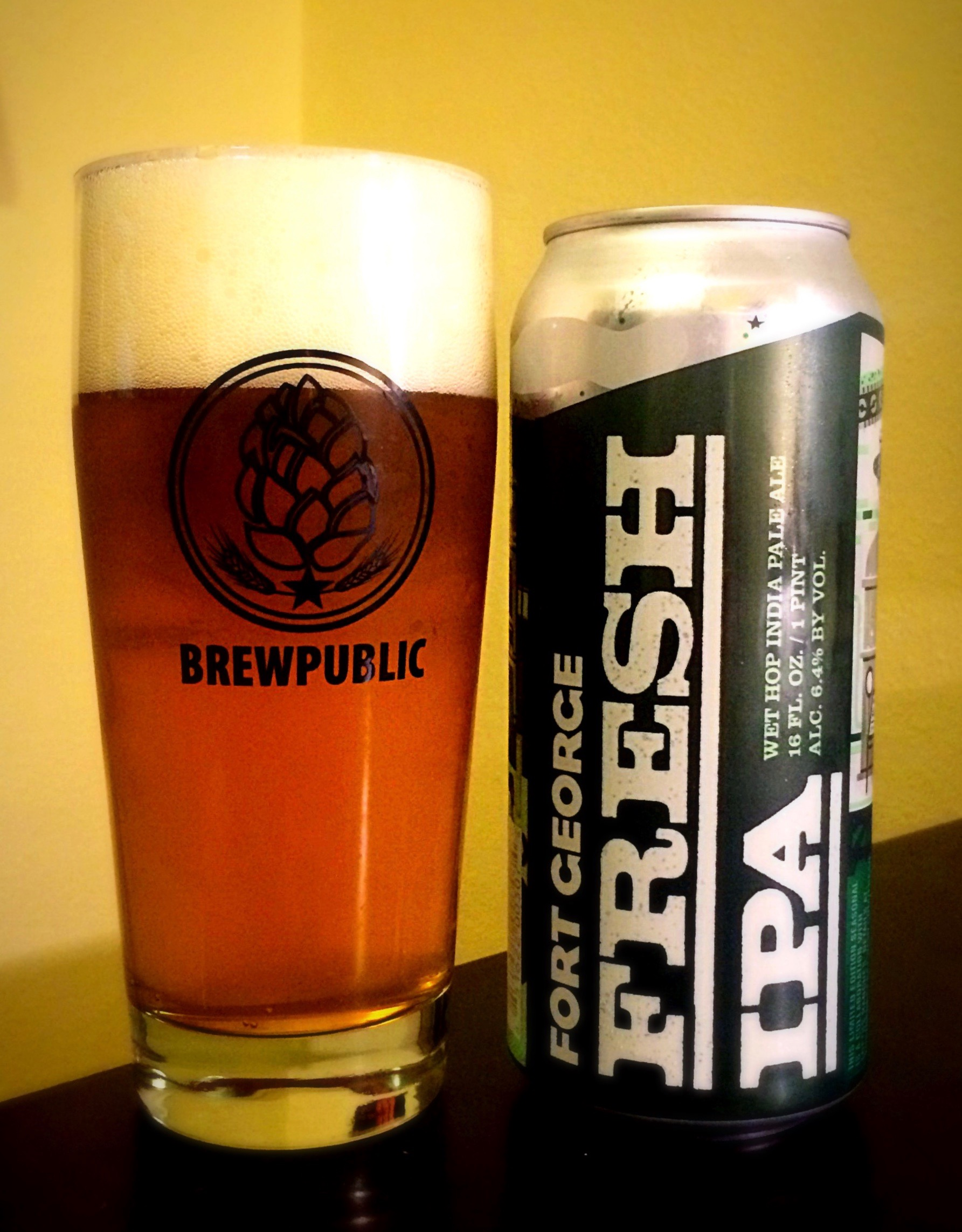Fort George Fresh IPA pour in a Brewpublic glass (photo by D.J. Paul)